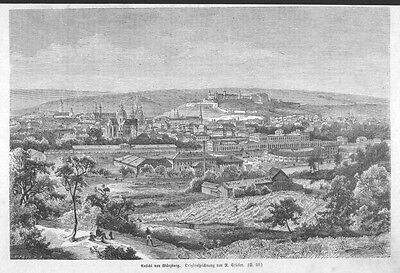 Würzburg, Gesamtansicht, Original-Holzstich von 1877