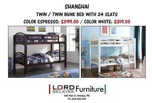 LORD SELKIRK FURNITURE - SHANGHAI BUNK BED FRAME-ESPRESSO-$299.*