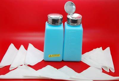 2x 250ml Blue Empty Liquid Dispenser Bottle + Clothes for Nail Polish Remover