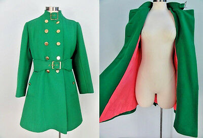 Vintage Green Wool Coat Winter Jacket PINK Lining MOD Double Breasted Peacoat M