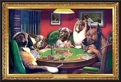 (Coolidge Dogs Playing Poker 24x36 Wood Framed Poster Art Photo)