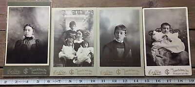 Lot Of 4 Antique Cabinet Cards Coffin Photography Studio Freeport Maine Family