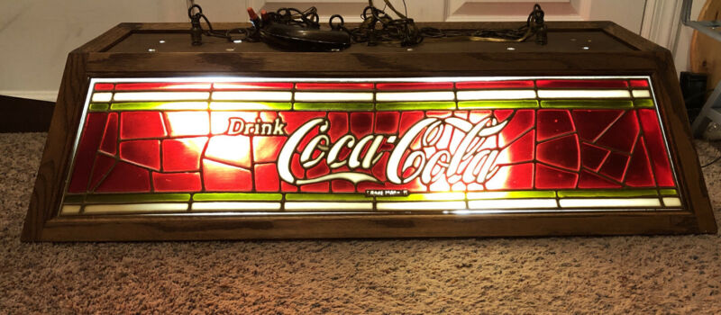 "Coca Cola pool table light 3 Bulb Tiffany Style 40""x16"" HTF Nice"
