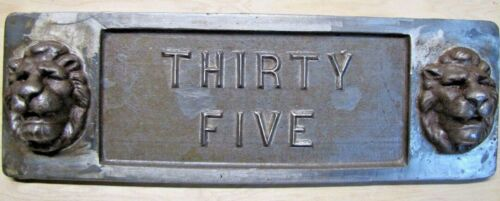 DOUBLE LION HEADS THIRTY FIVE Old Architectural Building Number Marker Sign