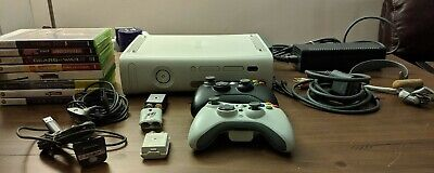 Microsoft Xbox 360 60GB White Console + headset+ 9 games & 2 controllers