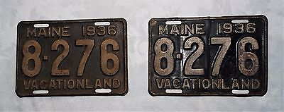 Pair of Vintage 1936 Maine State Set 2 License Plate Car Truck Tag #8-276