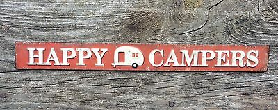 HAPPY CAMPERS Vintage Style TRAILER Camping Mancave Garage Shop = Metal Sign
