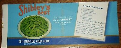 Shibley's Best Stringless Green Beans Can Label Blytheville Arkansas Piedmont