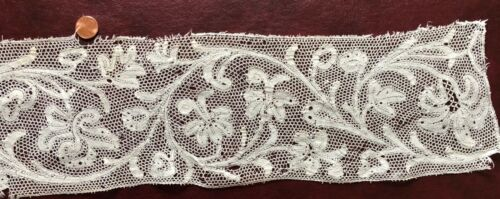 Classic 18th C. Milanese bobbin lace wide border length fancy cloth work