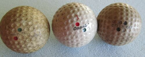 3 DIFFERENT VINTAGE DIMPLE DOUBLE DOT GOLF BALLS-KRO-FLITE-CAPRI AND GREEN RAY