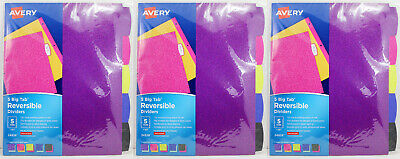 3pk Avery Fashion Glitter Reversible Binder Dividers 5 Tabs 8.5x11 3 Ring 24928
