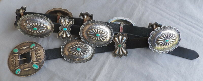Old Vintage Navajo Southwestern Silver Turquoise Concho Belt