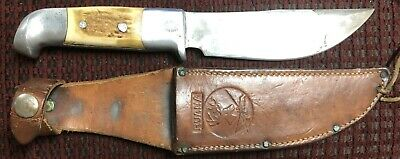 "RARE! Vintage R.H. Ruana Bonner Montana Knife ""Knife Stamp"" w/ Original Sheath."