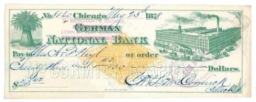 RN-G1 Revenue Stamp McCormick Reapers 1878 Chicago draft, green vignette
