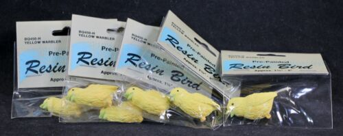 """Six (6) Pre-Painted 1.5"""" X 2""""  Resin Bird in Sealed Packages. Yellow Warbler"""