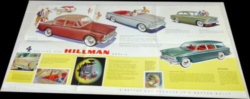 Hillman 1953 12-Panel Minx Brochure~DeLuxe Sedan~Convertible~Station Wagon~VGood