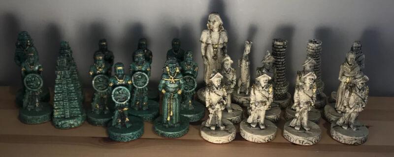 Rare Chess Vintage Latin Aztec Mayan Spanish Conquistadors Malachite Pieces