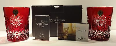 PAIR WATERFORD SNOW CRYSTAL DOUBLE OLD FASHIONED GLASSES RUBY ~ IN ORIGINAL BOX