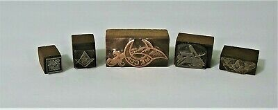 Vintage Masonic Letterpress Printers Block Stamp Metal Wood Compass Square Lot