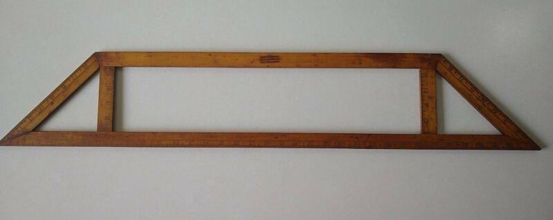 Antique Wood Fabric Ruler, Bias Measure Rule, J.K.Somes Springfield,MA 1876 (2)