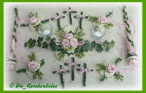 Große Tischdekoration 17 teilig rosa Tischdeko Kommunion Taufe Hochzeit