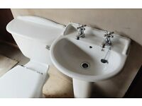 White WC and Pedestal Sink