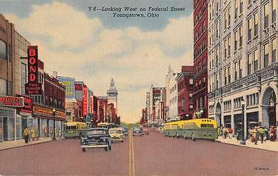 Youngstown Ohio Federal Street Scene Linen Antique Postcard K26436
