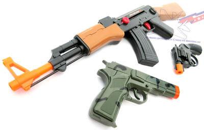 3x Toy Guns Friction AK-47 Toy Rifle Camo 9MM Pistol & Revolver Cap Gun Set