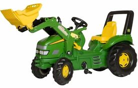 John Deere Children's Ride-on Farm Pedal Tractor with Frontloader and Farm Trailer