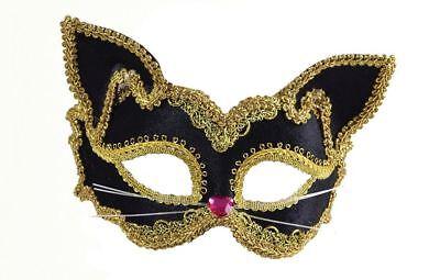 Ladies Black Gold Trimmed Feline Mask Cat Masqurade Ballroom Costume Accessory