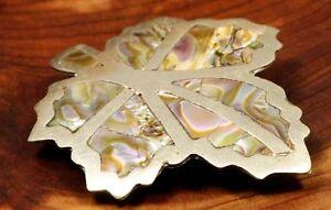 pendente e spilla alpacca e abalone - vintage alpaca abalone leaf pendant brooch - Italia - pendente e spilla alpacca e abalone - vintage alpaca abalone leaf pendant brooch - Italia