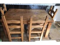 Solid Wood Table and 4 Chairs with Matching Mirror