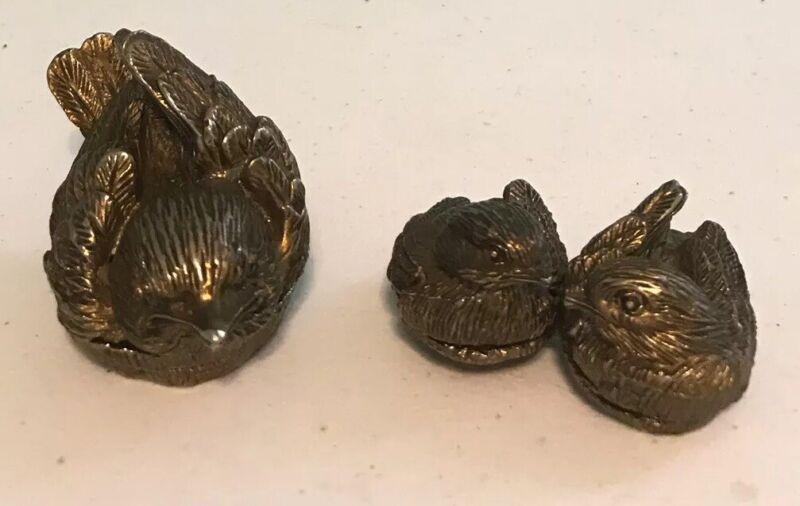 Lot Of 2 Vintage Decorative Metal Figurine Birds / Trinket