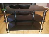 Black Glass and Chrome Corner Tv stand