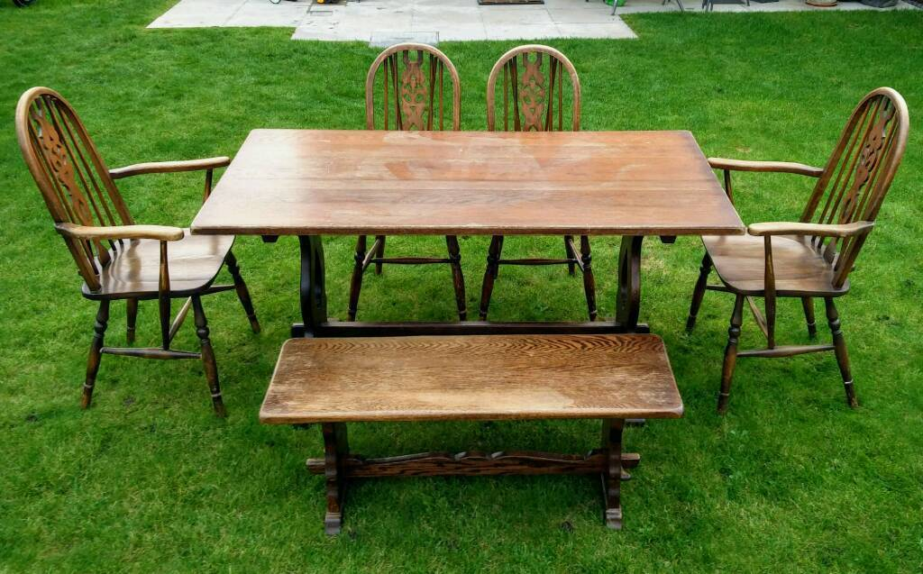 table with bench, x4 chairs solid wood ( local delivery )