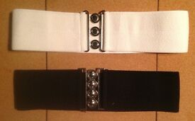 """2 Woman's 1950s Elastic Belts Black/White 3"""" wide approx 2' in length fits 14-16,vgc"""