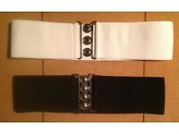 "2 Woman's 1950s Elastic Belts Black/White 3"" wide approx 2' in length fits 14-16,vgc"