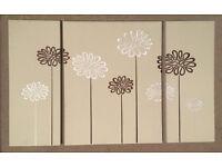 3 piece flower canvas