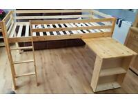 Mid sleeper bed with desk