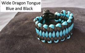 Handmade Paracord 550 Bracelet Wide Dragon Tongue wide, Gorilla, Wide Fishtale 7 inch