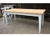 *FREE DELIVERY* Large Farmhouse Vintage White Solid Pine 6ft Dining Table ~ Chic (not shabby oak)