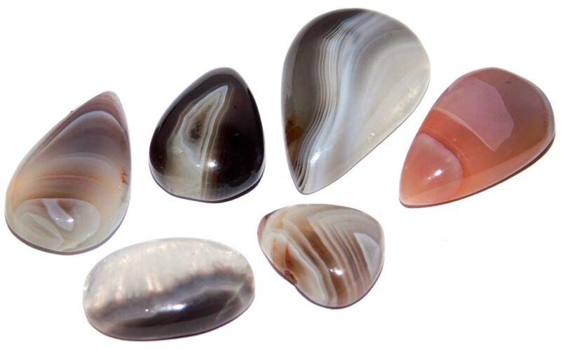 Loose Gemstone 101ct. Natural Botswana Agate Cabochon Mix Lot 1946