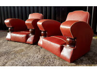 Original French Art Deco Club Chairs c. 1920's - 1930's