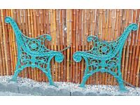 Pair of Edwardian Cast Iron Bench Ends very heavy