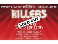 2X Killers Concert Tickets - 8th July - Hyde Park British Summer Time Festival