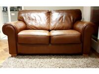 AS NEW superb quality 2 seater leather sofa DELIVERY INCLUDED