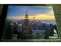 4 NYC new york city skyline empire state placemats USA table mats America sky US night american Stat