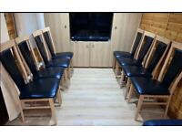 8 High Back Solid Beech Wood & Faux Leather Dining Chairs FREE DELIVERY 5040