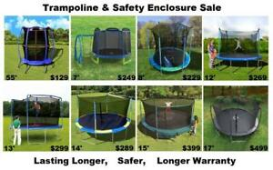 Huge Trampoline & Safety Net Enclosure Sale, New, 7, 8, 12, 13, 14, 15, 17, 10 yr Warranty, Shipping Available