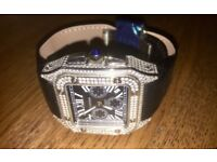 New mens santos iced diamond cartier watch
